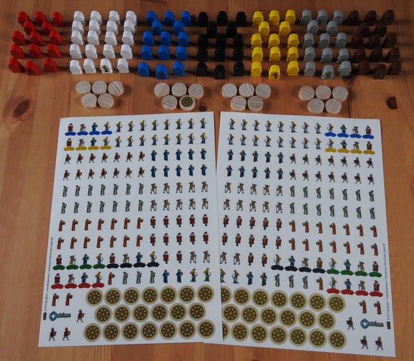 Top view of the Orleans Upgrade Kit, feauturing dozens of wooden figures and hundreds of stickers.