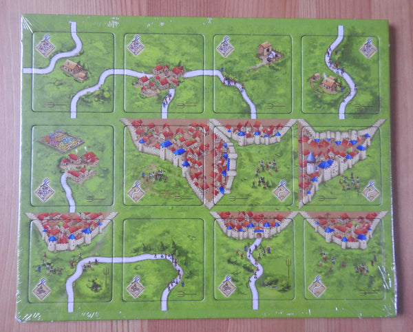 Top view of the 12 tiles included in this Peasant Revolts mini expansion.