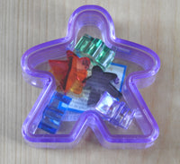 Purple Meeple box with the six mini meeples shown inside!