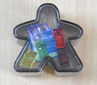 Black Meeple box with the six mini meeples shown inside!