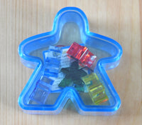 Blue Meeple box with the six mini meeples shown inside!