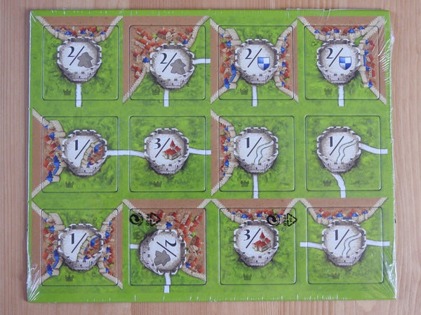Top view of the 12 watchtower tiles included in this Watchtowers Carcassonne Mini Expansion.