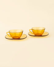 Load image into Gallery viewer, Vintage Amber Glass Cup and Saucers