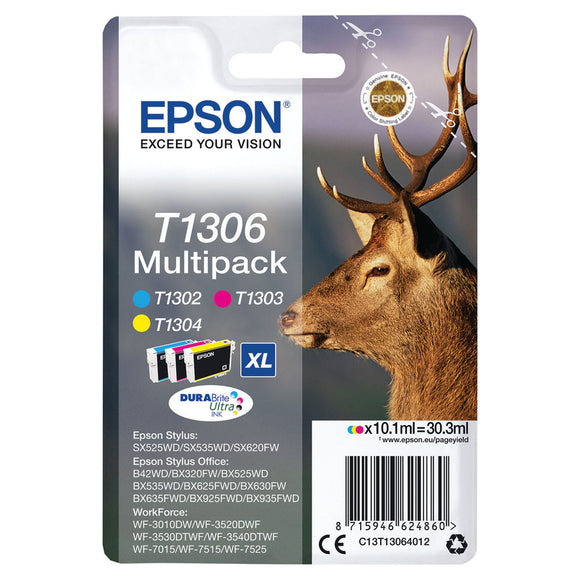 EPSON T1306 CMY XHY CARTRIDGE 3PACK