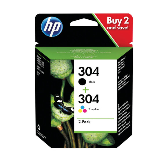 HP 304 2PACK TRI COLOR BK ORIG INK CART