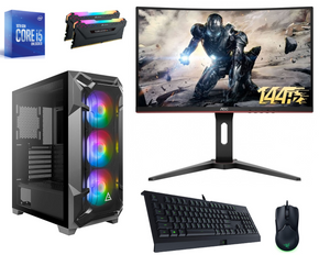 Custom Gaming PC Bundle - Intel Core i5-10600K Six Core 4.1GHZ Processor, 16GB DDR4 32000MHz RAM, 500GB NVME Drive, NVidia GTX 1660 Super Graphics Card (6GB), Windows 10 Home