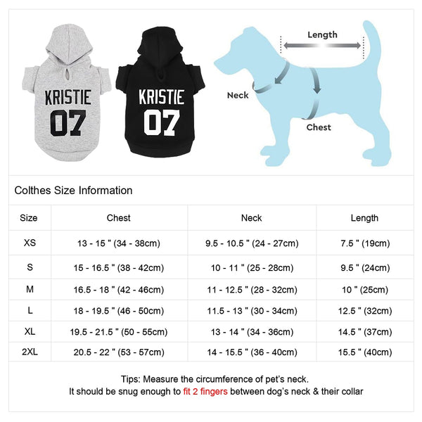 Name And Number Customised Dog Hoddies