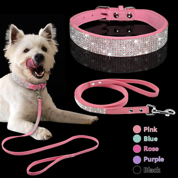 Diamond Bling Stylish Suede Leather Puppy Dog Collar And Lead Set - Yesy All Goods