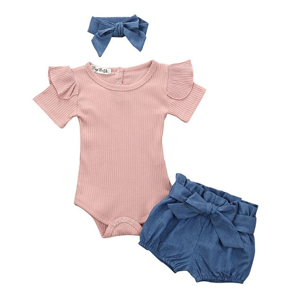 3pcs/Set Flower Short Sleeve Top & Short Pants for Baby Girls 0-24M