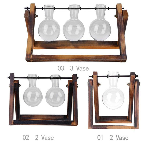 Elegant Hydroponic Plant Glass Vase with Wooden Frame Tabletop Decor - Yesy All Goods