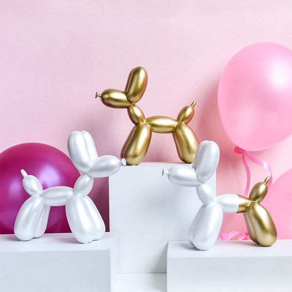 Adorable Figurine Ballon Dog Home Tabletop Decoration Gold/White Silver/Blue - Yesy All Goods