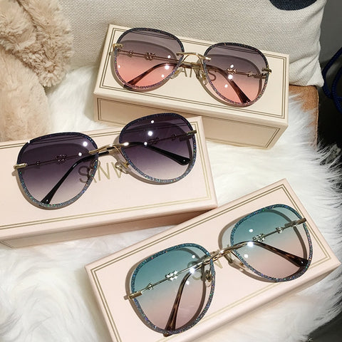 Bling Frame Gradient Muticolour Sunglasses for Women