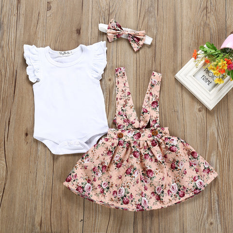 3Pcs/Set Short Sleeve Top with Skirt & Headband Clothing for Baby Girls 0-24M