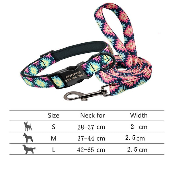 String Style Personalized Dog Collar and Lead Set
