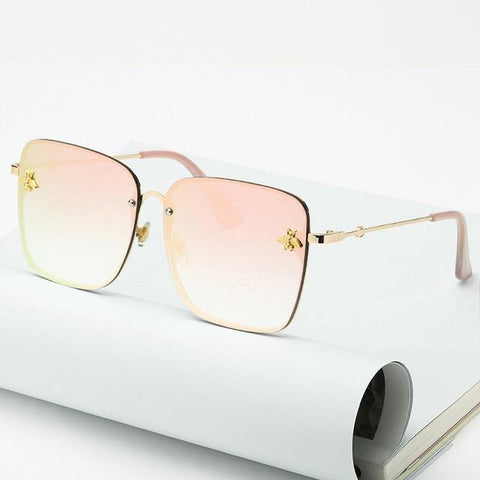 Fashion Extreme Oversized Square Sunglasses Bee On Sides for Women - Yesy All Goods