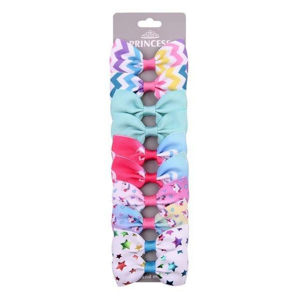 10Pcs Set of Ribbon Multicolour Cutie Patterned Hair Bows With Clip for Girls - Yesy All Goods
