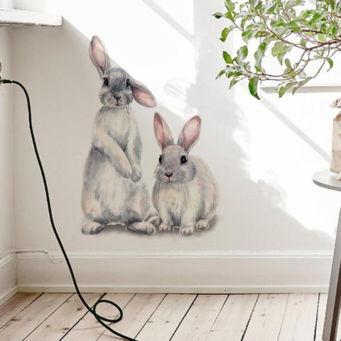 Two Cute Rabbits Removable Wall Sticker Home Decor - Yesy All Goods