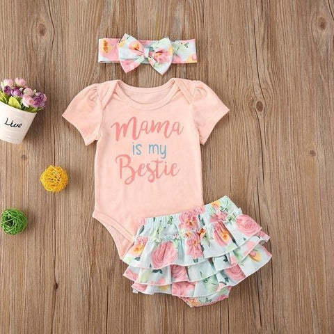 Summer Casual Outfit 3Pcs Set of Top + Short + Headband for Baby Girls - Yesy All Goods