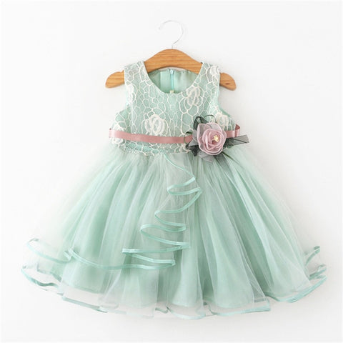 Flower Front Summer Lace Dress for Girls 1-5y