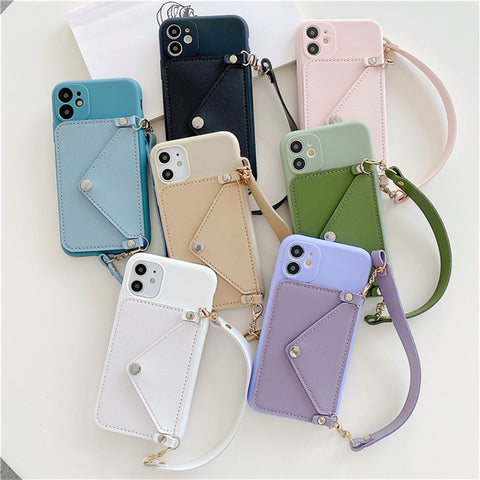 Elegant Silicone Phone Case with Lanyard & Card Holder for iPhone 11/12 Series