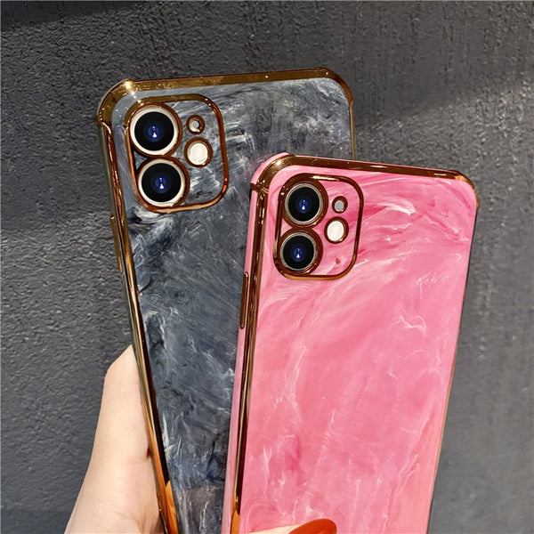 High Class Marble Pattern & Edge Electroplated Gold Plated with/without Ring Handle Case for iPhone 11/12 Series