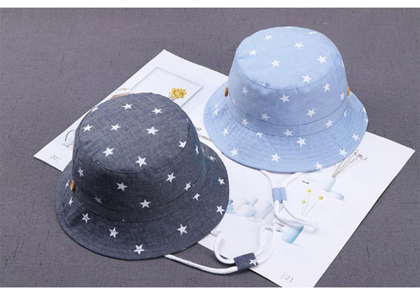 Unisex Kids Sun Protection Star Pattern Bucket Hat - Yesy All Goods