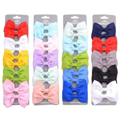 10Pcs Set of Ribbon Multicolour Hair Bows With Clip for Girls - Yesy All Goods