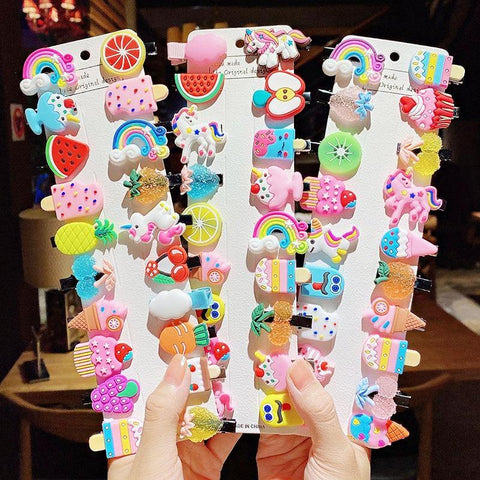 10Pcs/Set Cutie Colourful Hair Clips For Girls Multi-theme Available - Yesy All Goods