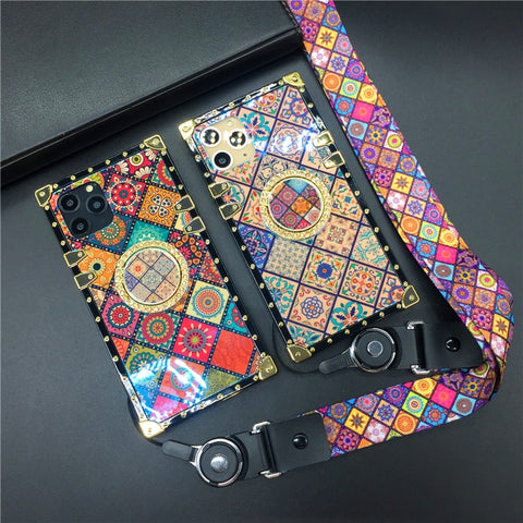 Super Luxury Patterned with/without Bracket Ring Holder & Strap Case for iPhone 11/12 Series