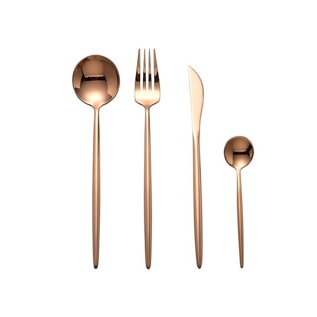 Glossy Gold Stainless Steel Cutlery Set - Yesy All Goods