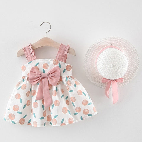 Bow Bow Pretty Dress with Hat 2Pcs Set for Baby Girls