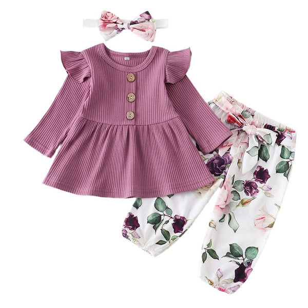 3pcs/Set Flower Clothes for Baby Girls 0-24M
