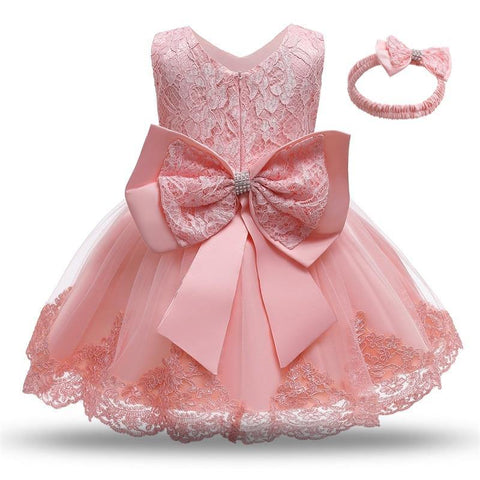Luxury & Elegant Fashion Dress with Headband 2Pcs Set for Baby Girls - Yesy All Goods