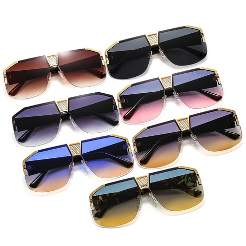 Unisex Shield Stylish Sunglasses Rectangle Shape with Colour Lens