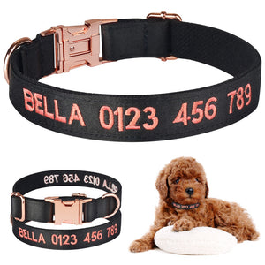 Black Pink Embroidered Solid Customised Dog Collars