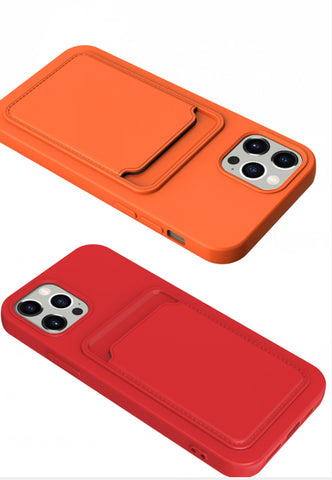 Solid Classic Silicone Case with Card Slot for iPhone 11/12 Series