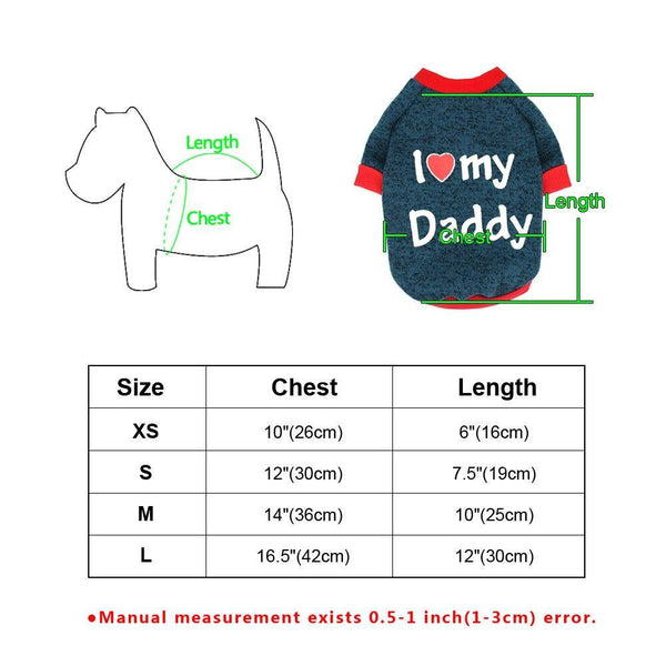 I Love Daddy & Mummy Cotton Dog Vest - Yesy All Goods
