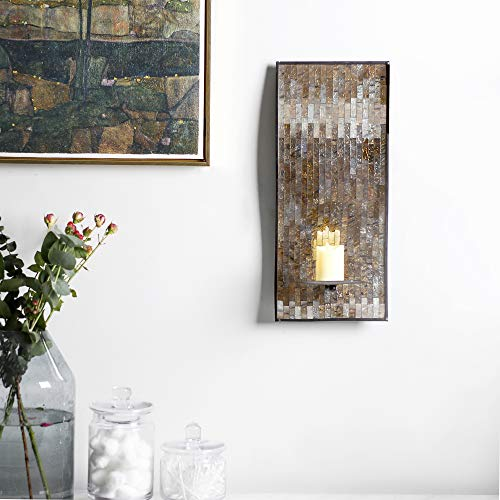 Mosaic Glass Decorative Metal Wall Candle Sconces Holders Set Of 2 B Whole Housewares