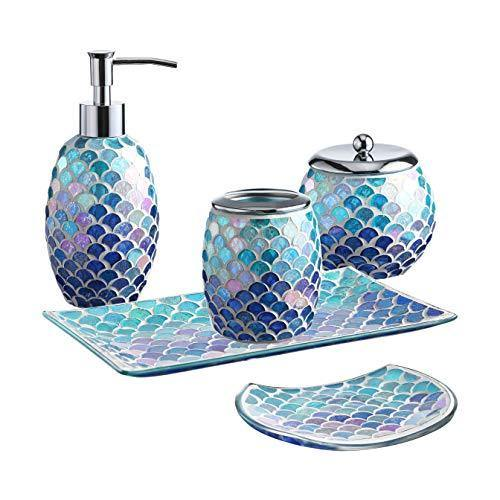 5 Piece Bathroom Accessory Set With Bright Colored Mosaic Glass Merma Whole Housewares