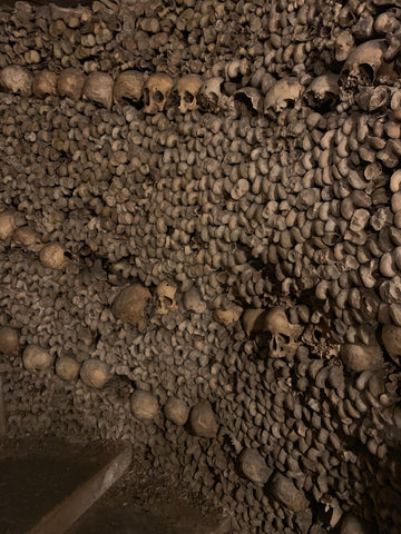 Walls of the Catacombs of Paris, constructed with skeletal remains