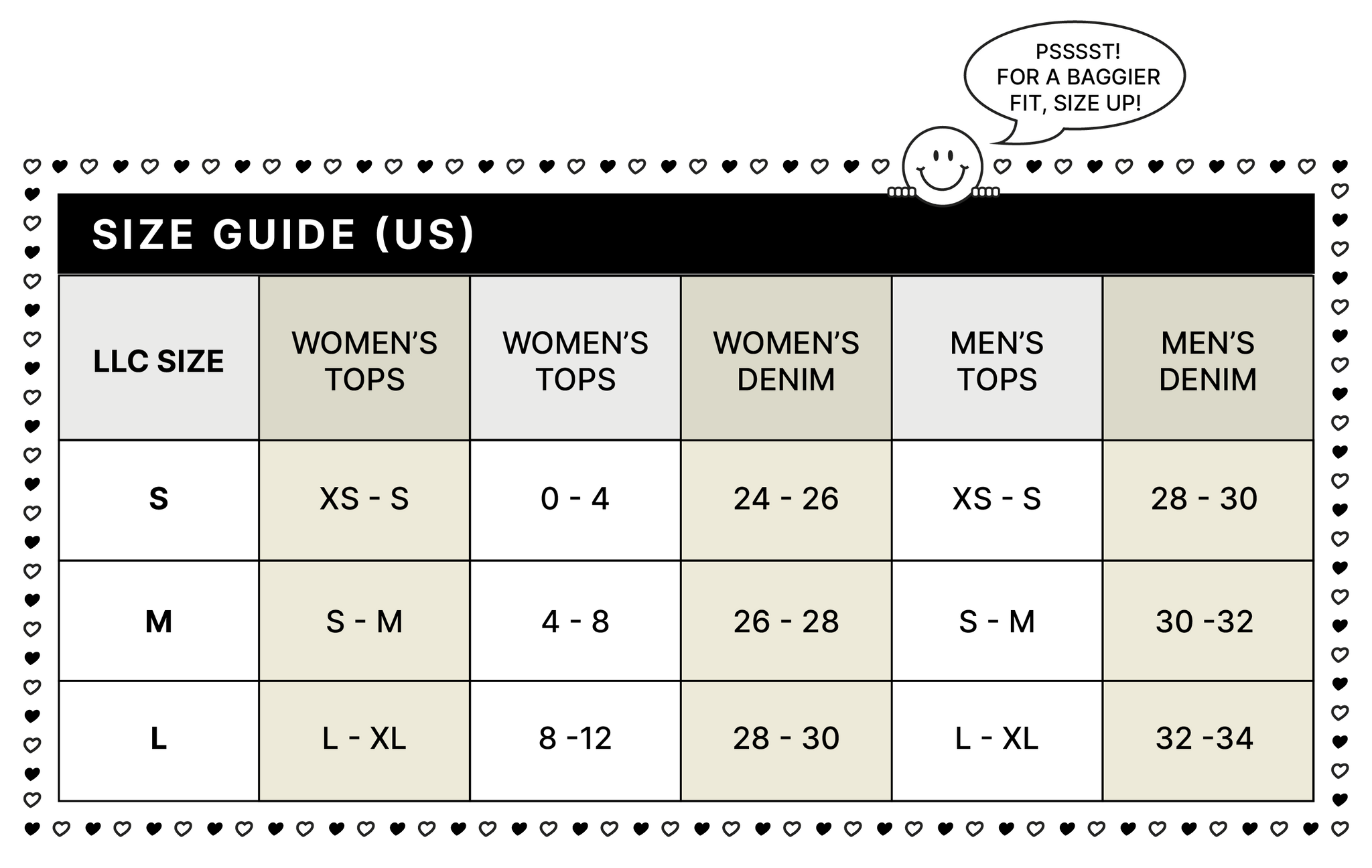 THE LOCAL LOVE CLUB SIZE CONVERSION CHART GUIDE