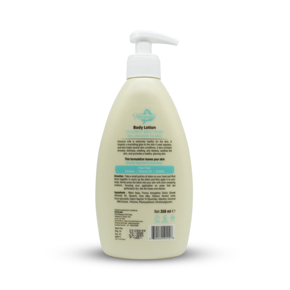 Body Lotion, Coconut Milk From Willingdon Island,350ml - Mermaid for beauty