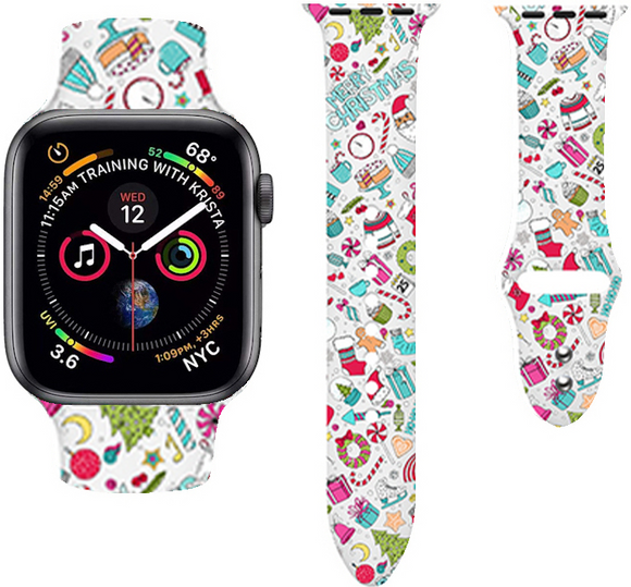 Christmas Cartoon Printed Band For AppleWatch-Chrismas gifts(white)