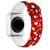 Christmas Cartoon Printed Band For AppleWatch-Chrismas gifts and stars(red)