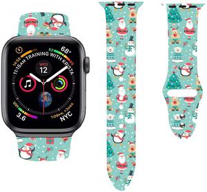 Christmas Cartoon Printed Band For AppleWatch-Santa Claus And The Elk(green)