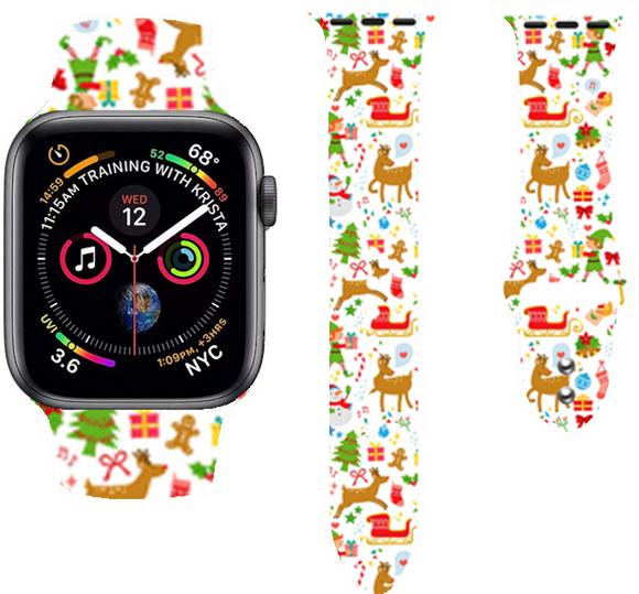 Christmas Cartoon Printed Band For AppleWatch-Chrismas gifts and trees