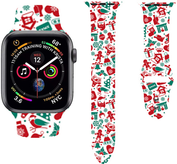Christmas Cartoon Printed Band For AppleWatch-Chrismas gifts(red)