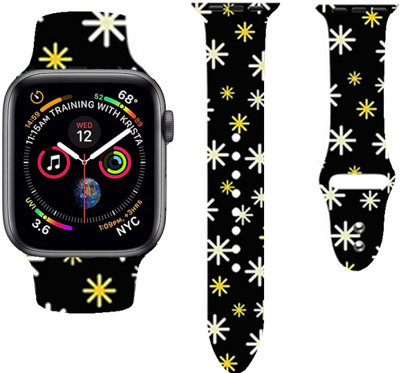 Christmas Cartoon Printed Band For AppleWatch-Snow(black)