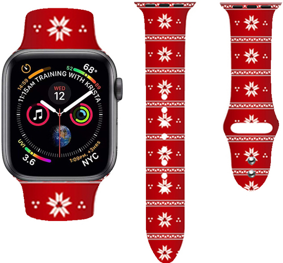 Christmas Cartoon Printed Band For AppleWatch-Snow(red)