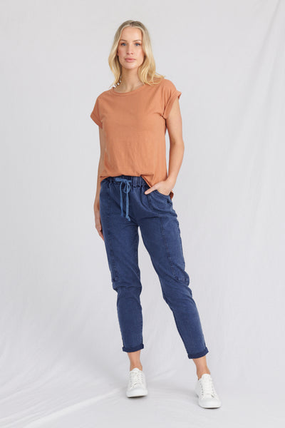 Woman in the Santa Barbara organic cotton women's top